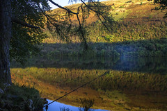 Gone Fishing (Kev Gregory (General)) Tags: stopping cannich week holiday stunning colour reflection across loch oich lost dipping sun camping water edge raising fire cook recent catch revelation day evening magical camp campfire campsite fishing rod autumn autumnal kev gregory canon 7d a82 invergarry