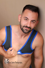 Jason (Levi Smith Photography) Tags: harness brunette beard handsome dude muscle shirtless guy man men mens mans fashion blue neoprene leather abs