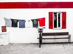 Red shutters and seats (CWhatPhotos) Tags: cwhatphotos seat red clothes line camera photographs photograph pics pictures pic picture image images foto fotos photography artistic that have which contain with olympus four thirds 43 spanish spain mallorca majorca island october 2016 weather alcudia wall abstract windows square color colors colour colours view lines straight vertical horizontal shutter shutters building buildings architecture colorful colourful shapes