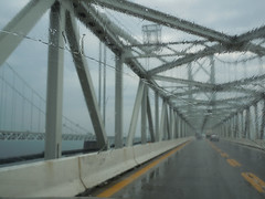 From Pat's S6000 069ps (dena429) Tags: chesapeakebaybridge rain annearundelcounty annapolismaryland highway traffic driving lowvisibility bridge architecture outdoor weather suspensionbridge trussbridge gray yellowstripes lanes windshield jerseybarrier jerseywall