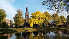 Delfzijl (Jeroen Hillenga) Tags: delfzijl herfst najaar herfstkleuren groningen netherlands nederland autumn vijver kerk toren