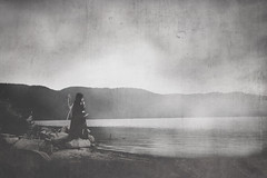 the feather collector (followtheravens) Tags: black white bnw blackandwhite goth gothic dark darkness wicca wiccan fineartphotography photo art creative woman girl traveler nature lake darkart