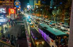 Las Vegas Strip Traffic (Anthony's Olympus Adventures) Tags: lasvegas lasvegassightseeing lasvegaslandmarks lasvegasboulevard lasvegasstrip nevada nv usa america strip night nightime nightscene afterdark dark lights traffic cars road car trafficjam
