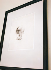 Freud Museum - portrait by Salvador Dali (oh it's amanda) Tags: fujiga645i ga645i london londonengland uk kodakpro1000pmz shotat200iso mediumformat expiredfilm freudmuseum