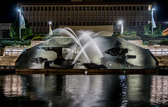 Captain James Cook Memorial Fountain, Civic Park, Newcastle DSC_0130 (troy david johnston) Tags: troydavidjohnston newcastle australia civicpark fountain water pond reflection outdoor spray lights jamescook memorial night nikon nikond5200