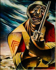 Soldier (Thad Zajdowicz) Tags: painting soldier man charleswhite artist art africanamerican socialrealism 1944 tempera color colour 366 365 zajdowicz thehuntington sanmarino california cellphone photoshopexpress aviary availablelight face helmet rifle bayonet motorola droid turbo indoor inside museum gallery android mobile smartphone cameraphone