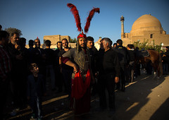 Man ready to play in the traditional religious theatre called tazieh about imam hussein death in kerbala, Isfahan province, Isfahan, Iran (Eric Lafforgue) Tags: 9people adults artscultureandentertainment ashura battle clothing colorimage commemoration condolencetheater drama epic esfahan fullframe groupofpeople historicalreenactment history horizontal hossein hussain imamhussein iran iranian isfahan islam ispahan martyrdom memorialevent men middleeast mourning muharram muslims outdoors periodcostume persia photography play religion religiouscelebration shia shiism shiite tazieh theatre isfahanprovince ir