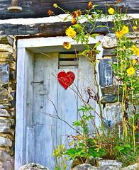 love door (lifecatcher2010) Tags: dsc5798 heart door flowers bricks stone hook