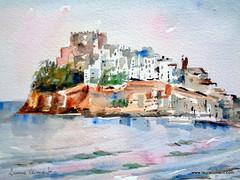 Peniscola (Laura Climent (Gallery)) Tags: lauracliment watercolor landscape paisaje peniscola acuarela spain