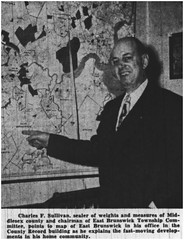 East Brunswick Committee chairman pointing at township map, 1950 (Ereiss1) Tags: vintage eastbrunswick nj