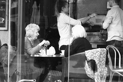 tea for two and two for tea (byronv2) Tags: tea coffee cafe peoplewatching candid street ryans bar pub restaurant woman seat sitting seated newtown edinburgh edimbourg scotland dining blackandwhite blackwhite bw monochrome westend queensferryroad people sit