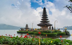 Of Temples and Faith (LMortgages158) Tags: sky landscape lake sea sunset water beach travel blue sun light clouds temple summer bali beautiful indonesia green colorful holiday hinduism