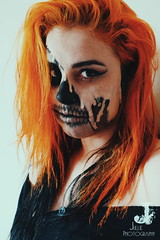 Joanna Risso (jullieph) Tags: wifesghostrider ghostrider makeup skull portrait photography orangehair alternative beauty woman girl halloween wife meltingskull fineart conceptual