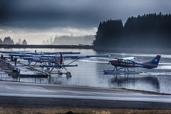 Ward Air Floats 1690 (Gillfoto) Tags: floatplane seaplane alaska juneau airport floatpond wardair mist cloud water trees