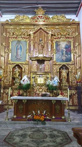 Altar Mayor, Templo de San Mateo Churubusco, Delg. Coyoacán, Cdad. de México, CDMX.