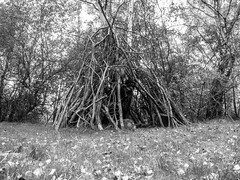 44. what we do in the shadows (emifly) Tags: bw blackandwhite witch crow house lurking woodland selfportrait selfie mask