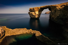 Full Moon at the Azure Window at midnight (Zoltan Gabor) Tags: malta gozo azure window midnight night longexposure sea mediterranean landscape seascape rock arch nature maltese landmark