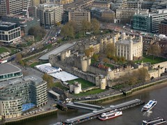 The Tower of London with seasonal ice rink in the moat viewed from the Shard (streetr's_flickr) Tags: theshardoflondon highrise panorama tallbuildings structures architecture london city toweroflondon towerhill riverthames icerink riverboats