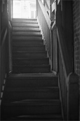 (frscspd) Tags: 39170019 20160919 pentax pentaxmx mx takumar takumar58mm 58mm ilfordxp2 ilford ilfordxp2400bw xp2 film filmgrain contrasty lightattheendofthetunnel staircase kingscollege stedwardspassage markethill stedwardspassagehostel lookingup