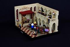 Grand Merchant Tajir (jsnyder002) Tags: lego moc mosaic interior medieval castle tan throne room window floor wall balcony arch column pattern carpet merchant ccc kaliphlin awning