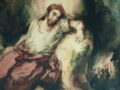 DELACROIX Eugène,1826 - Le Christ au Jardin des Oliviers, Eglise St-Paul-St-Louis, Paris, Etude (drawing, dessin, disegno-Louvre RF23325) - Detail 39 (L'art au présent) Tags: drawing dessins dessin disegno personnage figure figures people personnes art painter peintre details détail détails detalles 19th 19e dessins19e 19thcenturydrawing 19thcentury detailsofdrawing detailsofdrawingdessins croquis étude study sketch sketches tableaux louvre museum eugènedelacroix eugène delacroix france lechristaujardindesoliviers christinthegardenofgethsemane gardenofgethsemane christ jardindesoliviers aquarelle watercour watercolor man men homme romantic romantique romantisme romanticism romance armes weapons soldats soldiers rocher rock nuit night ombre shaddow paris