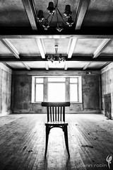 Guest... (Pixomatose) Tags: chair alone derelict abandoned urbex rurbex ghost house old black bw contrast nobody lost nowhere