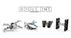 Rogue One Mini-Starfighters (Jamesbrick) Tags: lego 2016 jamesbrick star wars mini fighters ships mirco uwing u wing tie striker fighter starfighter xwing