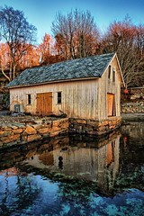 Old boathouse, Norway (Vest der ute) Tags: g7x norway rogaland frdesforden boathouse sea seascape water trees reflections mirror sunset fav25 fav200