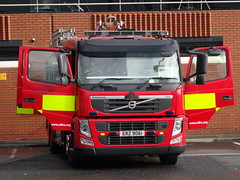 NIFRS Volvo FM, October 2016 (nathanlawrence785) Tags: nifrs nifb psni ruc police fire service northern ireland truck engine appliance battenburg red yellow white dog canine land rover defender rosenbauer airport bhd egac volvo fm fl foam