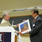 David Irwin, Professor & Head of Psychology, presents a Larry Kanfer print to Dr. Samuel E. Krug, 2015 Distinguished Alumni Award recipient