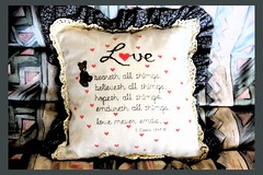 love bears all (Leonard J Matthews) Tags: love cushion bible scripture mythoto australia newtestament kjv salvosstores thesalvationarmy rothwell queensland 1corinthians13 1corinthians1378 verse quote beareth believeth hope hopeth endure endureth alwayssucceeds neverfails fruitful