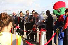 Ribbon cutting (Don McDougall) Tags: donmcdougall caymanislands cayman caymanairways grandcayman owenrobertsinternationalairport oria cal aviation flight transport christening celebration airline