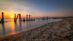Sandy Hook's Secret Beach (Mike Ver Sprill - Milky Way Mike) Tags: sandyhook secretbeach sea ocean bay shore jerseyshore newjersey nj landscape seascape pilings seaweed sunset sun beautiful mikeversprill michaelversprill