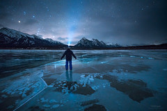 'Interstellar Bubbles' - Abraham Lake, Alberta (Gavin Hardcastle - Fototripper) Tags: abraham lake nordegg alberta astrophotography nightscapes ice frozen bubbles winter cold freezing selfie orion