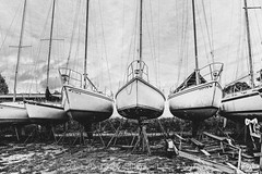 Dry Dock (uselessbay) Tags: 2014 fujineopan1600 nikon nikond700 rhodeisland uselessbayphotography warwick williamtalley blackandwhite boats d700 digital fullframe grain uselessbay