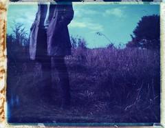 Autumn Girl (snacky.) Tags: autumn fall film field polaroid walk hill 360 instant expired 108 landcamera roidweek2014