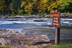 Danger: No One Beyond This Point (mhoffman1) Tags: park autumn fall water sign danger river unitedstates pennsylvania seasonal smooth rapids foliage pa ohiopyle youghiogheny rushing a7r