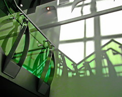 green light of day (Harry Halibut) Tags: light bus green station stairs shadows steel niche south yorkshire transport images stairwell stainless allrightsreserved balustrade interchange doncaster frenchgate curver anglesanglesangles colourbysoftwarelaziness doncasterbuildings donny080131097 2014andrewpettigrew imagesofdoncaster doncasterarchitecture