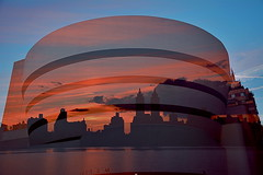 Guggenheim Museum superimposed with sunset over the Upper West Side (NYCNYC) Tags: