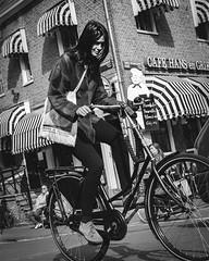 Stripe Attack (Rolling Spoke) Tags: street blackandwhite bw girl amsterdam bike bag lumix stripes streetphotography style bicicleta cycle bici chic velo fiets bicycleculture gx1