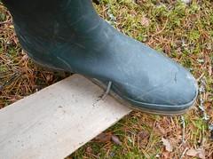 Testing green wellies (Lisban2009) Tags: wellies rubberboots gummistiefel rippedwellies rippedrubberboots leakingwellies leakingrubberboots wellieswithholes