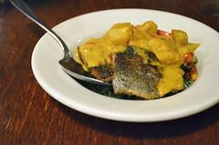 Trout Rundown (jpellgen) Tags: travel food usa fish wisconsin america nikon midwest roadtrip curry september foodporn tapas milwaukee seafood trout wi mke 2014 lamerenda d5100