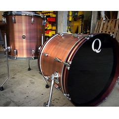 15X20 bass drum and a 15X15 floor tom Copper shell with a blackened brushed patina. @anaflict should have some fun with these guys. #qdrumco #copper
