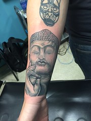 buddah statue tattoo by wes Fortier - Burning Hearts Tattoo Co. 1430 Meriden Rd.  Waterbury, CT