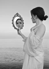looking glass - Explored (Pixie Pix (Thelms Eye)) Tags: portrait blackandwhite bw woman beach monochrome sussex nikon southeast nikond5100