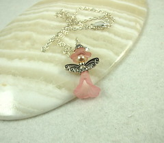 Pink Flower Fairy Necklace (Maxine Veronica) Tags: necklace handmade pendant folksy paperchainsbeads