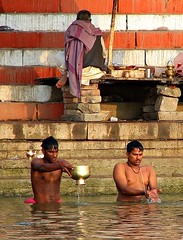 india (gerben more) Tags: shirtless people india men water stairs prayer ceremony varanasi ritual hinduism ganga ganges benares ghat ritualbathing