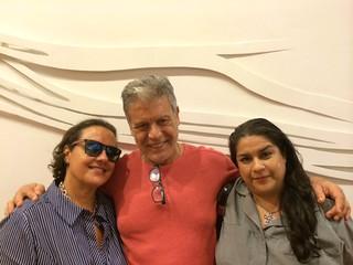 Collector Veronika Guerra, Oscar Corbella and Reyna at HistoryMiami museum
