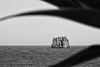 Stromboli: view onto Strombolicchio (unukorno) Tags: sea bw plant mediterranean mediterraneo sw noise stromboli mittelmeer strombolicchio