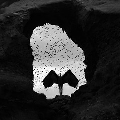 The Cave of Beckoning (Christopher J. Rivera) Tags: white black bird art monochrome rock clouds photoshop dark photography wings surrealism evil surreal adventure explore laguna conceptual cinematic edit